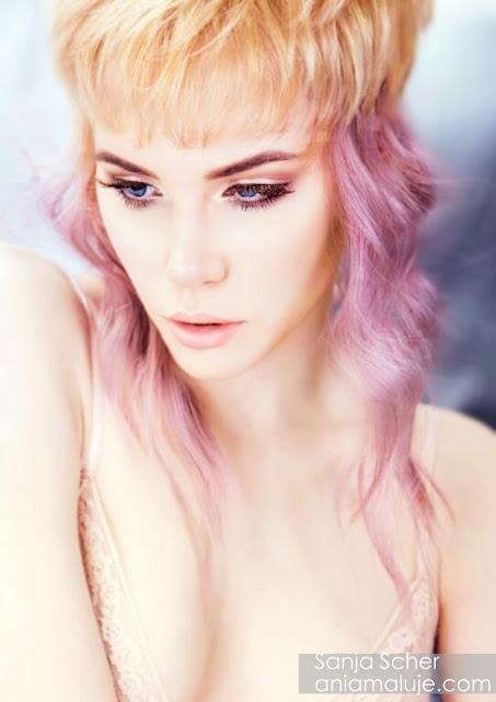 blond fioletowe włosy róż lawenda