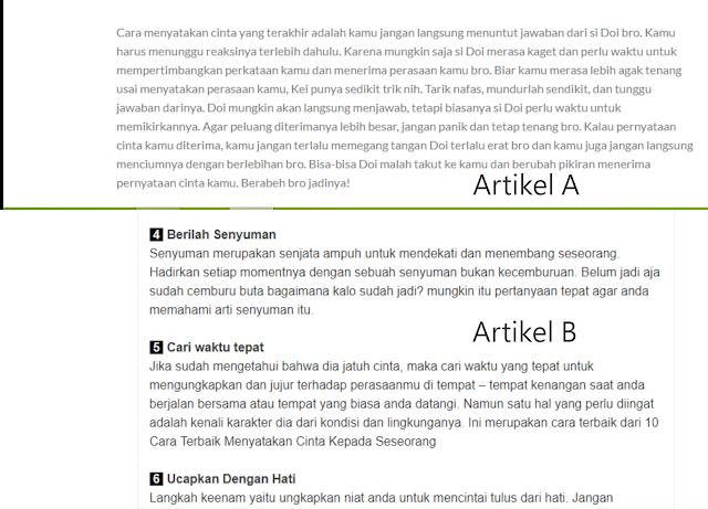 perbandingan Artikel A dan B untuk dibaca