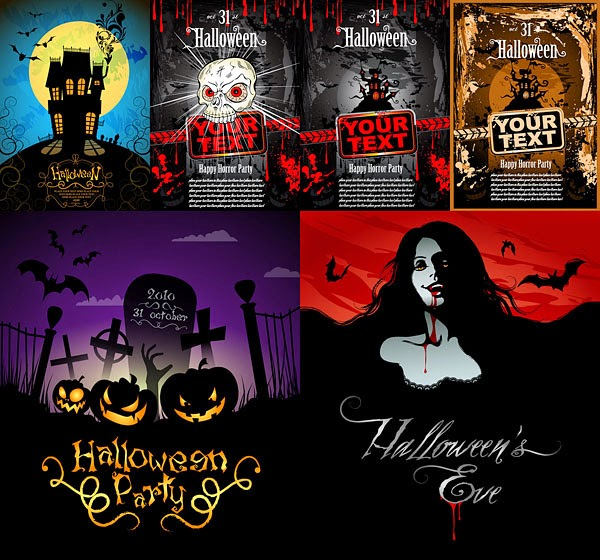 Posters para halloween en vectores