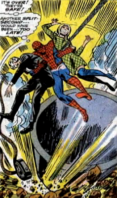 Amazing Spider-Man #61, don heck, john romita, as the kingpin's vat falls, spider-man swings in and rescues gwen stacy and captain george stacy who are tied up
