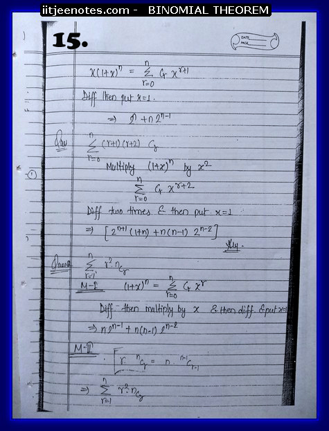 IITJEE Competiton Notes on Binomial Theorem 3