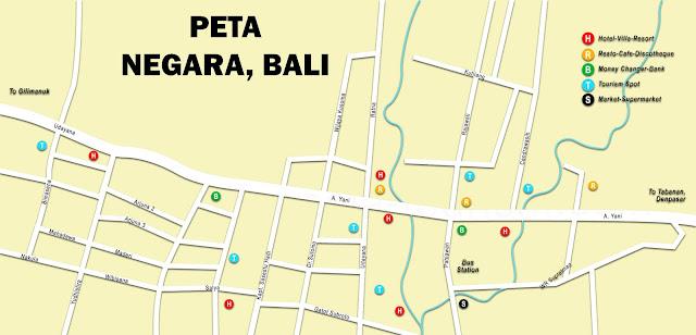 Gambar Peta Wisata Negara, Bali, Indonesia