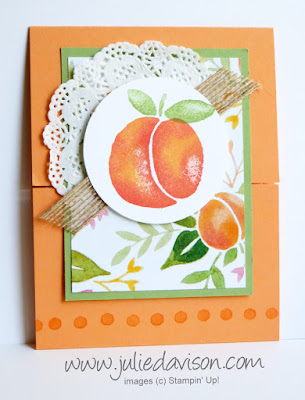 Gate Fold card with Stampin' Up! Fresh Fruit Stand for August Stamp of the Month Club Card Kit #stampinup www.juliedavison.com