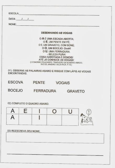 Atividades vogais - Desenhando as vogais