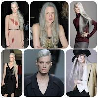 Kristen McMenamy (cebebridade jovem com cabelos brancos - grisalhos naturais)