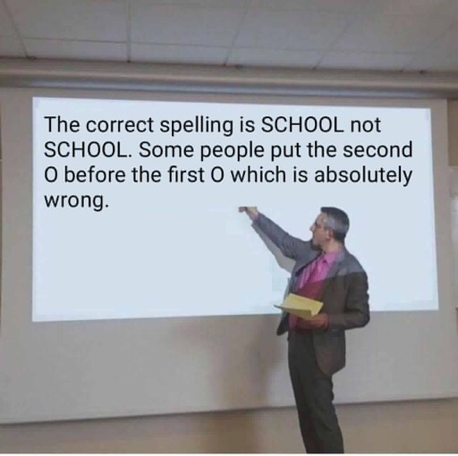 The correct spelling is SCHOOL not SCHOOL. Some people put the second O before the first O which is absolutely wrong.
