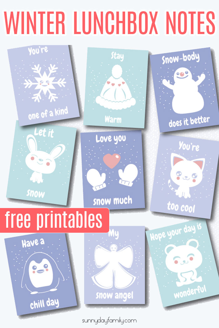 Adorable free printable winter lunch box notes for kids! Your kids will love finding these on cold winter days. 9 free printable winter lunchbox notes in all! #lunchbox #lunchboxlove #printables #forkids #winter