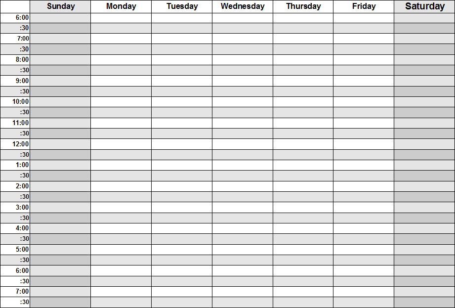weekly calendar with hours template