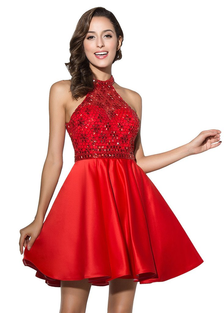 RED HOMECOMING DRESS WITH BEADINGS