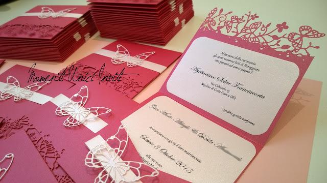 dalila... I coordinati nei toni del fucsia e rosa tenue di Dalila e Gian MarioColore Fucsia Colore Rosa Colore Rosa Cipria Partecipazioni intagliate Tema Farfalle