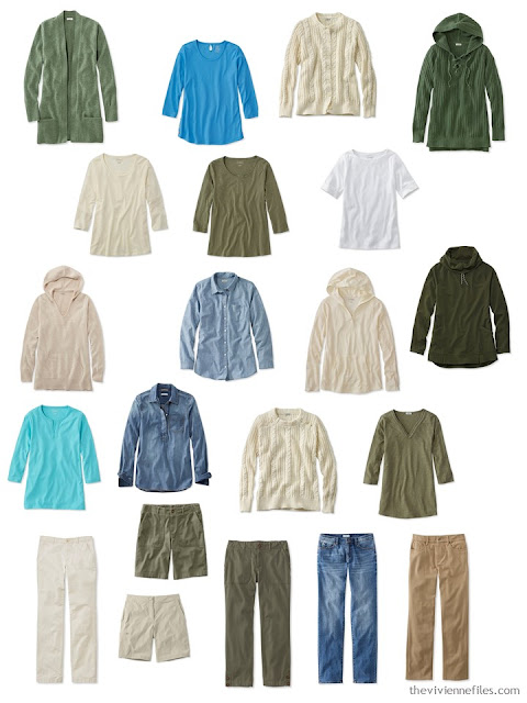 Leisure wardrobe in olive and beige
