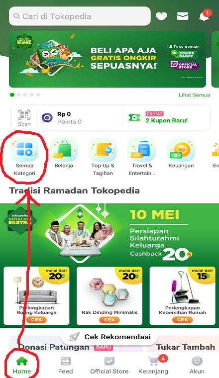 Menu Semua Kategori di Halaman Beranda Marketplace Tokopedia.