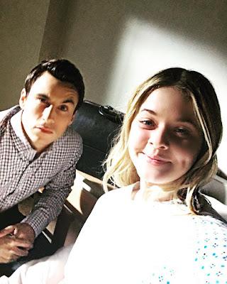 PLL Sasha Pieterse (Alison) & Huw Collins (Dr. Elliot Rollins) bts filming episode 7x03