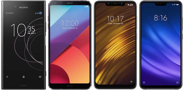 Sony Xperia XZ1 vs LG G6 (H870) vs Xiaomi Pocophone F1 64G vs Xiaomi Mi 8 Lite 128G