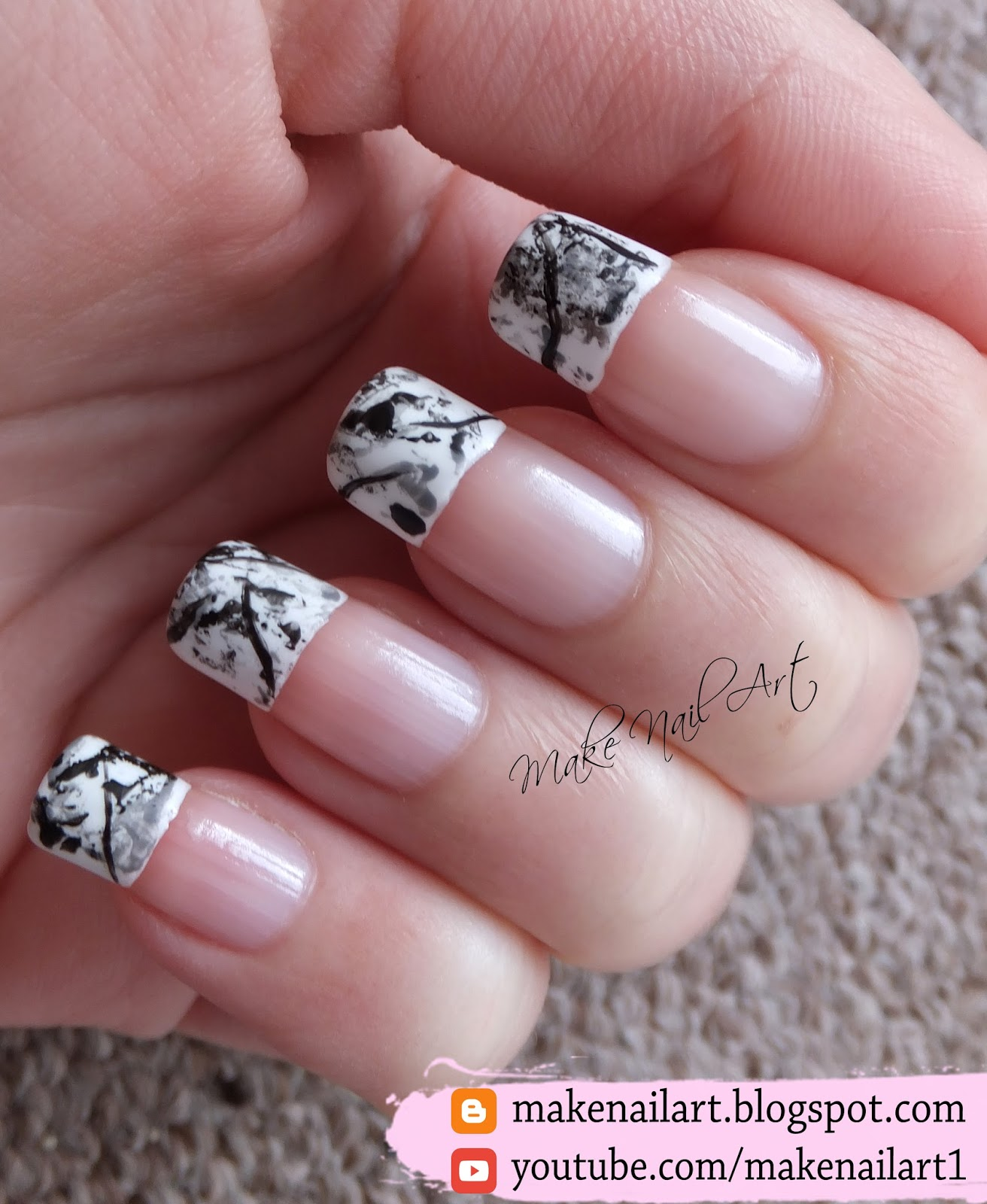 Make Nail Art: Stone Marble French Manicure Nail Art Design Tutorial