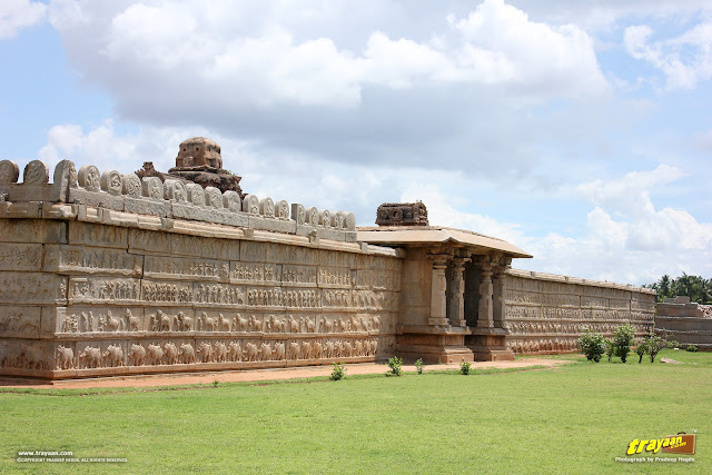 Enclosure walls of Hazara Rama temple complex in Hampi, Ballari district, Karnataka, India