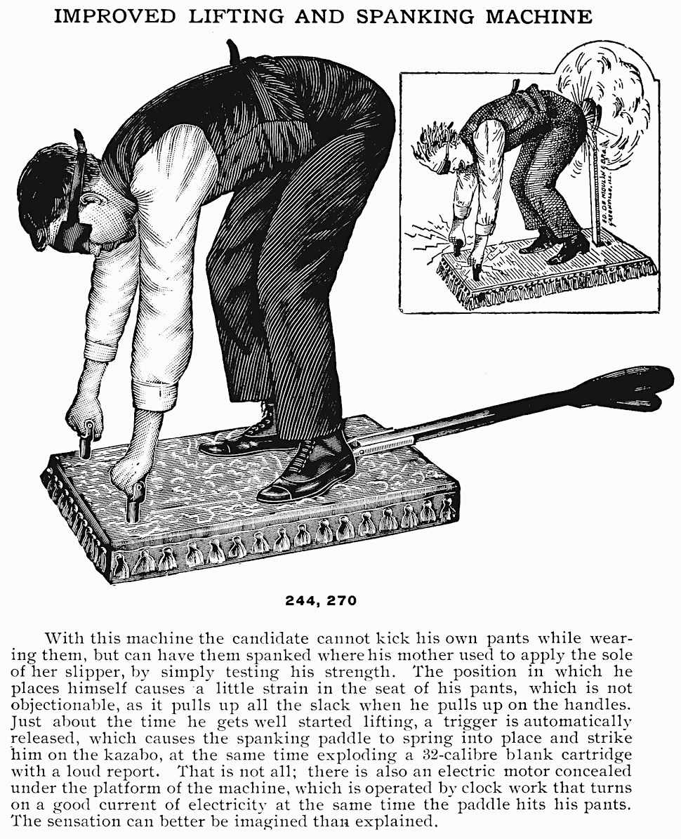 a 1908 fraternity prank machine from a supply catalog