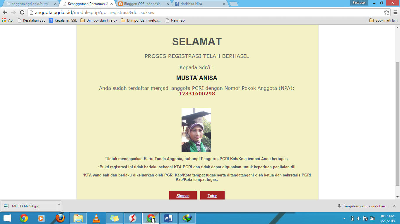 Registrasi Anggota PGRI Online 2015  OPS Indonesia