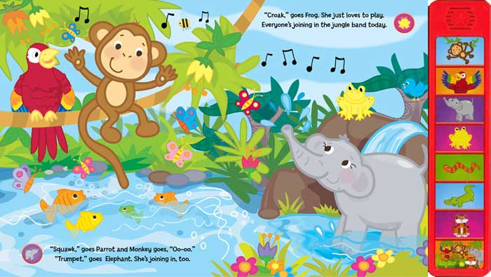 Kids Giggles: The Noisy Jungle Animals Board Book with 8