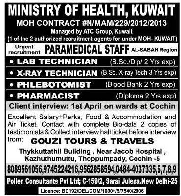 moh kuwait urgent recruitment