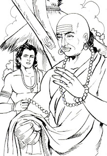 Chanakya escaped to Vinjha forest with help of Pabbata. He was in search of a person who can replace Dhana Nanda. One day he saw a group of children playing. They were playing King game and the boy playing King's role was Chandragupta Maurya.