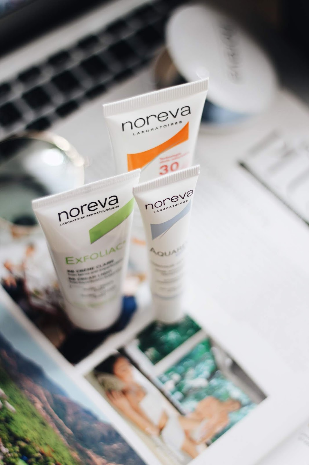Новинки марки Noreva. Noresun Gradual UV Fluid SPF 30, Noreva Aquareva Contour des Yeux Hydrating Energizing Care, Exfoliac BB Cream Light.