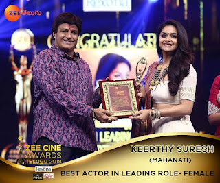 Keerthy Suresh with Cute Smile for Best Actor in Leading Role Female Mahanati
