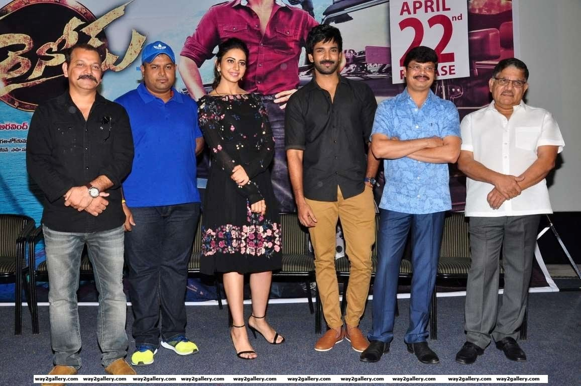 The cast and crew of Telugu film Sarrainodu snapped at the films press meet