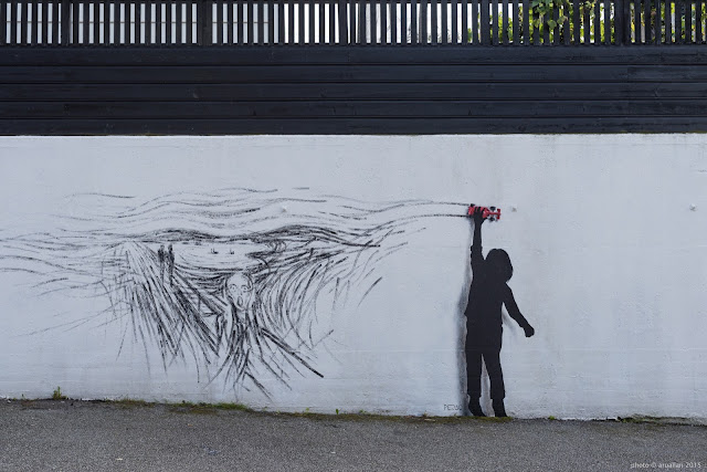 Pejac is part of this year's line-up for the 15th anniversary of the excellent Nuart Street Art Festival which is currently taking place on the streets of Stavanger in Norway.