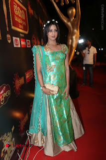 Actress Sanjjanaa Stills in Green Long Dress at Gemini TV Puraskaralu 2016 Event  0073.JPG
