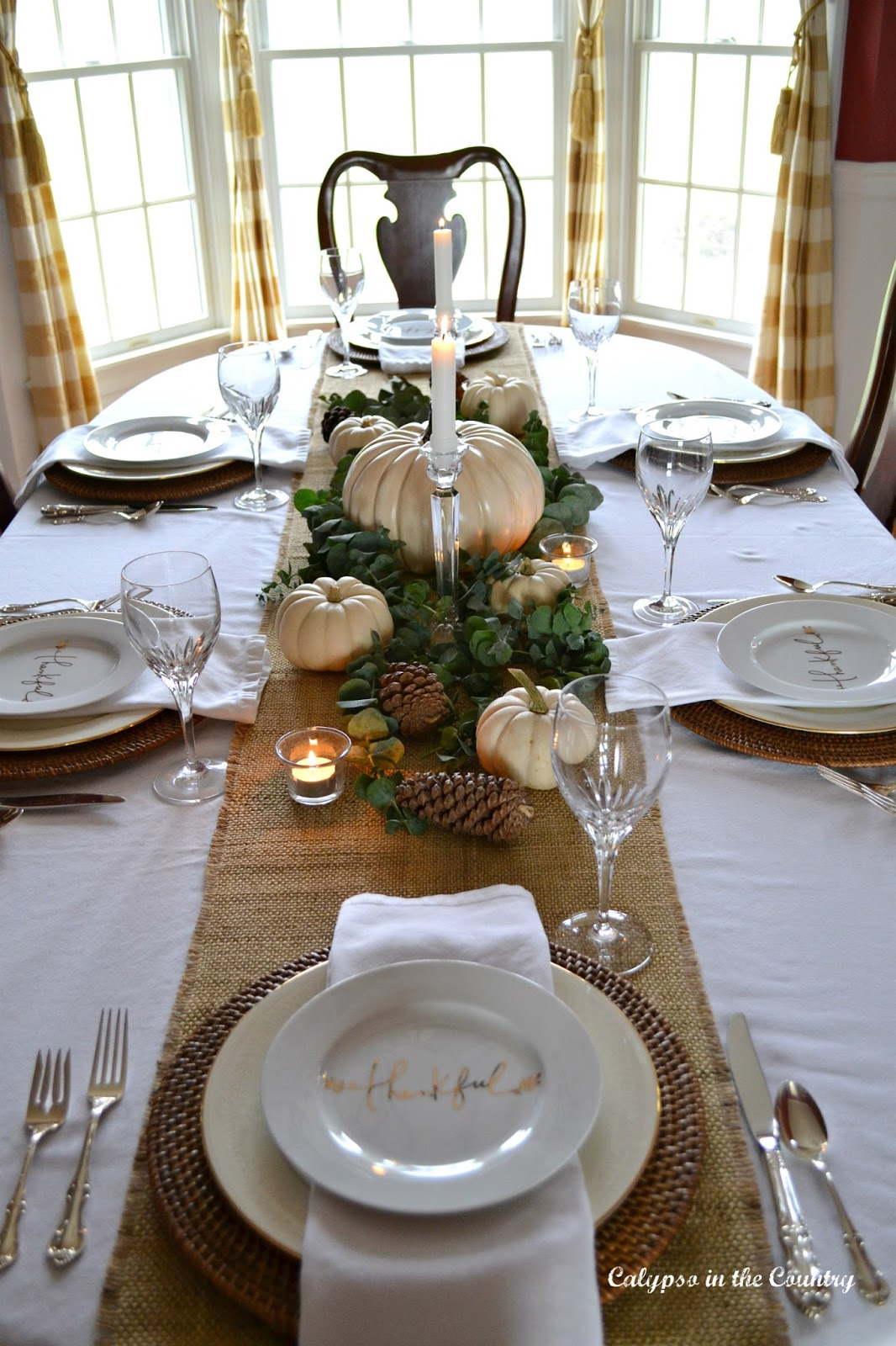 Burlap Runner and White Pumpkins for Thanksgiving Centerpiece