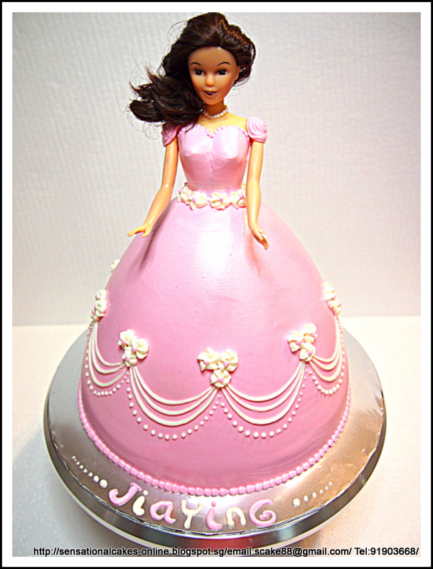 Princess Rainbow Cake Singapore Skirt Carving Barbie