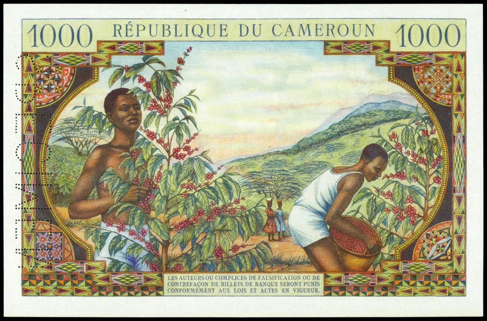 Cameroon paper money 1000 Francs 1961