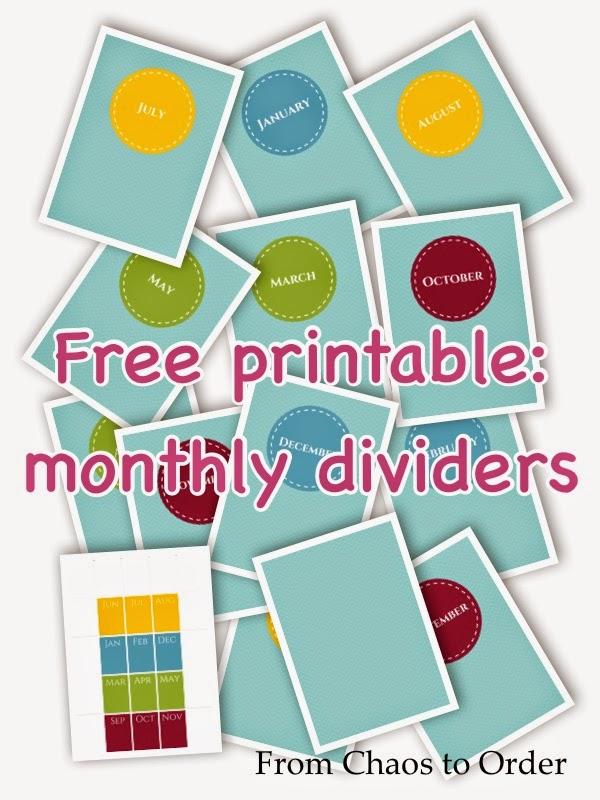 Free printable monthly dividers to the 17 folders system ~ From