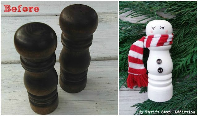repurposed salt shaker snowman ornament