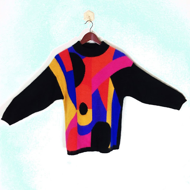 vintage sweater, bright orange, pink, yellow, blue and black pixiefuzz in austin, tx