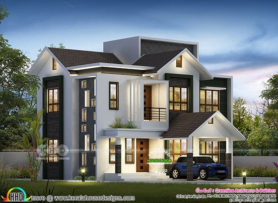 Small double storied 1500 sq-ft modern 3 bedroom home