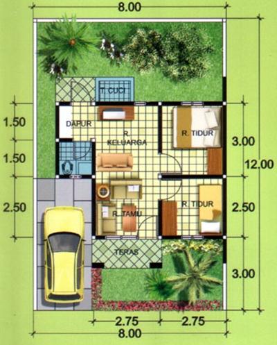 Contoh Denah rumah minimalis type 36 dengan 2 kamar tidur ...