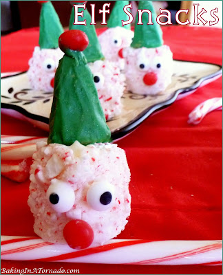 Elf Snacks, a fun project to make, a festive no-bake but fully edible addition to your holiday dessert table. | Recipe developed by www.BakingInATornado.com | #recipe #Christmas
