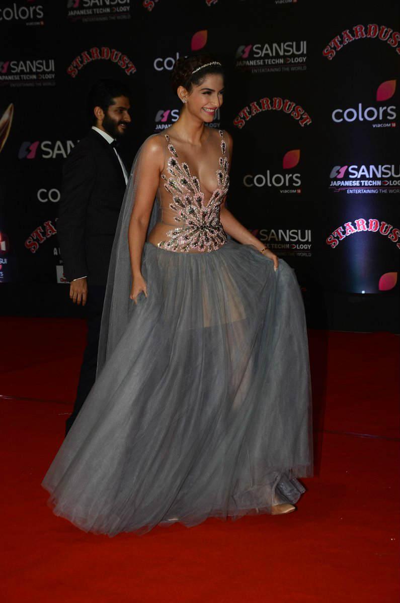 Sonam Kapoor In Sizzling Curvy Transparent Gown Stills