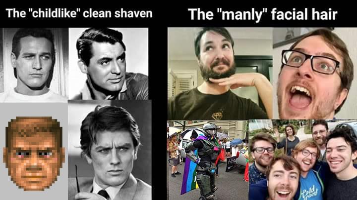 Cara limpa de bebê vs barba de machão