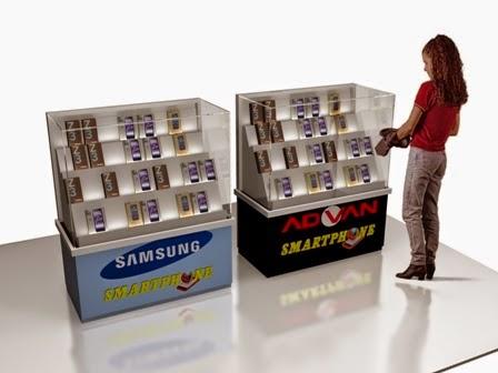 Desain 3d Etalase cuonter HP - KiosK - Full Branding 01