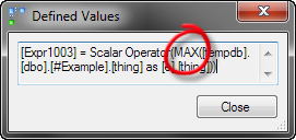 Defined values for the MAX query