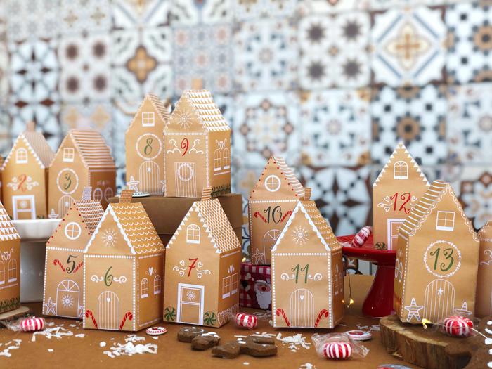 Descarga gratuita calendario adviento casitas pan de jengibre, manualidades con niños, hazlo tú mismo, diy, Navidad
