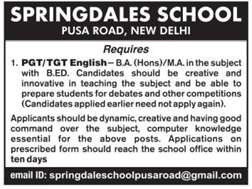 Springdales School, New Delhi, Wanted Teachers PGT | TGT - Faculty
