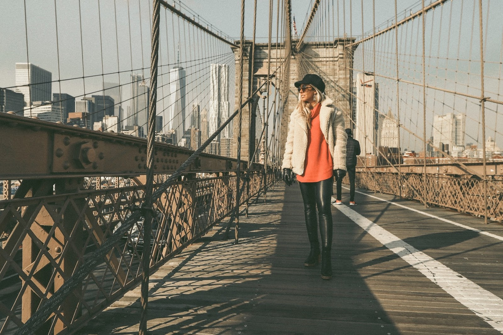 Brooklyn Bridge winter outfit  NYC leather pants