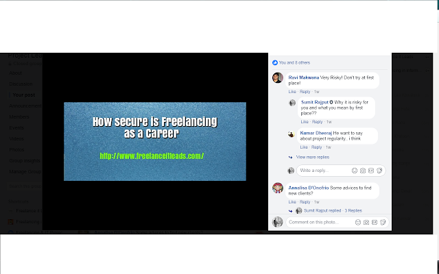 how secure is freelancing as career - fb post