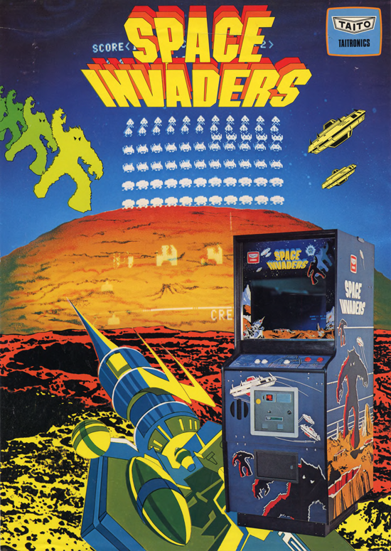 Space Invaders upright cabinet advertising 1978 Taito