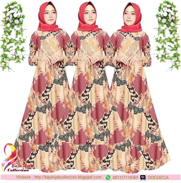 Gamis Misbee Jumbo Batik Marun Yellow