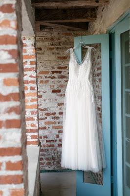 wedding gown hanging at casa feliz